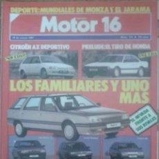 Coches: REVISTA N°179 MOTOR 16 LOS FAMILIARES 1987. Lote 142739908