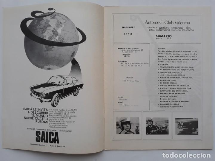 Coches: REVISTA GRAFICA, REAL AUTOMOVIL CLUB, VALENCIA 1970, PUBLICIDAD SEAT 1800 DIESEL - Foto 2 - 142867778