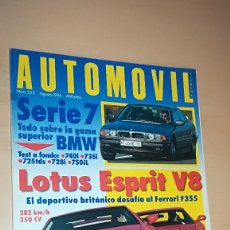 Coches: REVISTA AUTOMOVIL Nº 223 AGOSTO 1996 LOTUS ESPRIT V8, TODO SOBRE BMW SERIE 7. Lote 144821002