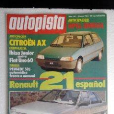 Coches: REVISTA AUTOPISTA Nº 1401 - AÑO 1986 - FOTO SUMARIO -IBIZA JUNIOR - UNO60 - PEUGEOT 505 AUTOMATICO. Lote 244886980