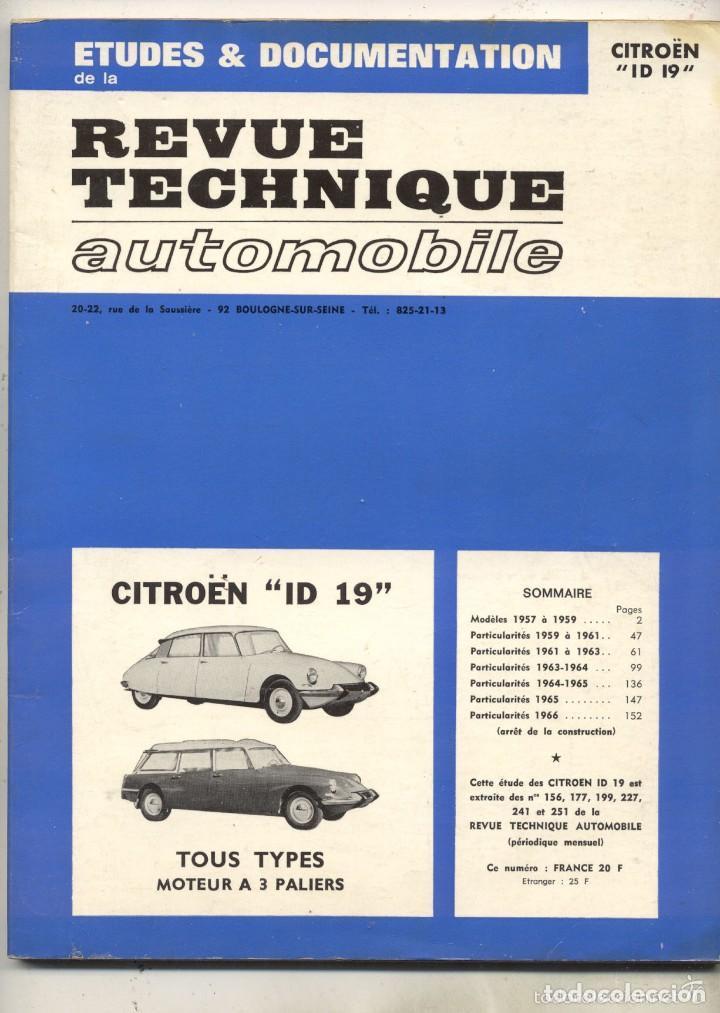 ANTIGUO CATALOGO TECNICA AUTOMOVIL CITROEN ID 19 TIBURON TODOEL DESGUACE CARACTERISTICAS EN FRANCES (Coches y Motocicletas Antiguas y Clásicas - Revistas de Coches)