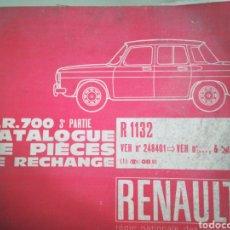 Coches: RENAULT CATALOGUE DE PIECES DE RECHANGE 3A PARTE. Lote 148612062