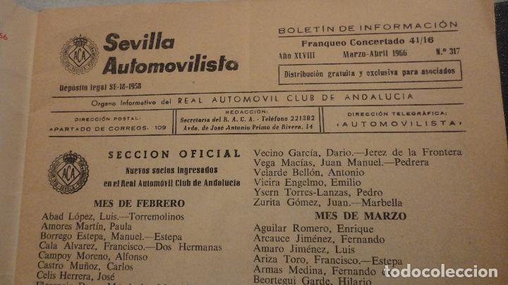 Coches: REVISTA SEVILLA AUTOMOVILISTA.REAL CLUB DE ANDALUCIA.Nº 317 1966 - Foto 2 - 149640722