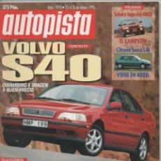 Coches: AUTOPISTA Nº 1910 20 AL 26 FEBRERO 1996 PRUEBAS SUBARU IMPREZA 4WD VOLVO S40 NOVEDADES. Lote 151435938