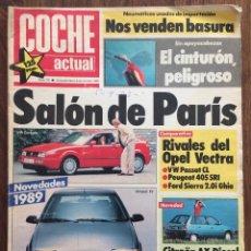 Coches: REVISTA COCHE ACTUAL Nº 35 1988 SALÓN DE PARÍS CITROËN AX OPEL VECTRA. Lote 152539138