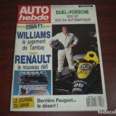 Coches: REVISTA AUTO HEBDO Nº 708 -1990 - PORCHE 928 GT 928 S4 AUTOMATICO-. Lote 152629086