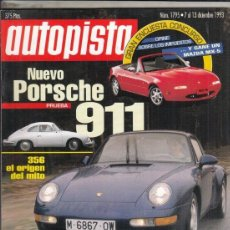 Coches: REVISTA AUTOPISTA Nº 1795 AÑO 1993. PRUEBA: PORSCHE 911 CARRERA. RENAULT SAFRANE REX V6 QUADRA. . Lote 153832246