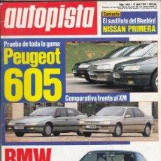 Coches: REVISTA AUTOPISTA Nº 1604 AÑO 1990. PRU: FIAT TEMPRA 1.6 SX. COMP: PEUGEOT 605 V6 3.0 AUT Y 605 24V.. Lote 153836478