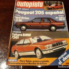 Coches: REVISTA AUTOPISTA Nº 1280 AÑO 1984. PEUGEOT 205 - FORD ORION 1.3 GL - BMW 750I.. Lote 156553182