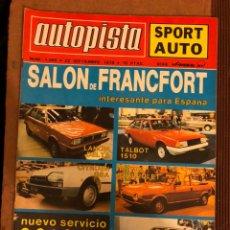 Coches: AUTOPISTA N° 1068 (SEPTIEMBRE 1979). SALÓN DE FRANCFORT (LANCIA DELTA, TALBOT 1510, CITROËN GSA, ... Lote 157125573