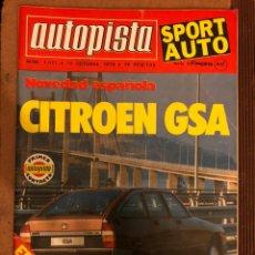 Coches: AUTOPISTA N° 1071 (OCTUBRE 1979). CITROËN GSA, VILLOTA EN SILVERSTONE, F1 EE.UU.,... Lote 157126261
