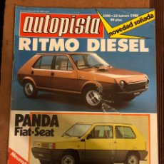 Coches: AUTOPISTA N° 1090 (FEBRERO 1980). FIAT RITMO DIESEL, FIAT-SEAT PANDA, PIRELLI P8,.... Lote 157130114