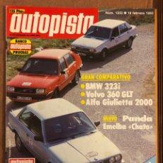 Auto: AUTOPISTA N° 1232 (FEBRERO 1983). BMW 323I, VOLVO 360 GLT, ALFA GIULIETTA 2000, PANDA EMELBA,.... Lote 157301972