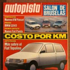 Coches: AUTOPISTA N° 1384 (ENERO 1986). FIAT TOPOLINO, BMW 324 D, VOLKSWAGEN PASSAT, FIAT PANDA, OPEL REKORD. Lote 157627740
