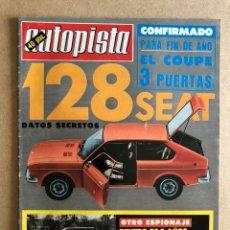Auto: AUTOPISTA N° 920 (OCTUBRE 1976). SEAT 128, RENAULT 12, VW GOLF, ALPINE A-310 V6, CON POSTER TOUR AUT. Lote 157856454