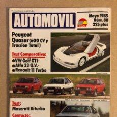 Coches: AUTOMÓVIL N° 88 (MAYO 1985). VW GOLF GTI, ALFA 33 Q.V, RENAULT 11 TURBO, MASERATI BITURBO, CITROËN V. Lote 158164388