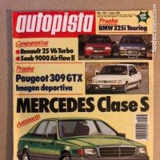 Coches: AUTOPISTA N° 1538 (ENERO 1989). R-25 V6 TURBO, SAAB 9000 AIRFLOW II, PEUGEOT 309 GTX, MERCEDES CLASE. Lote 158176998
