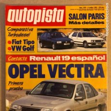 Coches: AUTOPISTA N° 1525 (OCTUBRE 1988). FIAT TIPO, VW GOLF, OPEL VECTRA, RENAULT 19, .... Lote 158177858