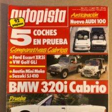 Carros: AUTOPISTA N° 1517 (AGOSTO 1988). BMW 320I CABRIO, ESCORT XR3I VS GOLF GTI, AUSTIN MINI MOKE, AUDI. Lote 158335193