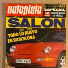 Coches: AUTOPISTA N° 1556 (MAYO 1989). FORD FIESTA D 1.8, PEUGEOT 405 FAMILIAR, SALÓN DE BARCELONA,MÓNACO F1. Lote 158336710