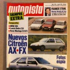 Coches: AUTOPISTA N° 1590 (ENERO 1990). BMW 318I, LANCIA DEDRA 2.0I, ROVER MONTEGO 2.0 GTI, CITROËN AX/FX,... Lote 158339429