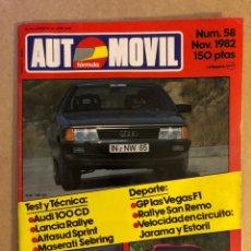 Coches: AUTOMÓVIL N° 58 (NOVIEMBRE 1982). AUDI 100 CD, LANCIA RALLYE, ALFASUD SPRINT, MASERATI SEBRING, RALL. Lote 158475520
