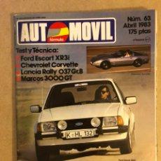 Coches: AUTOMÓVIL N° 63 (ABRIL 1983). FORD ESCORT XR3I, CHEVROLET CORVETTE, LANCIA RALLY 037 GR.B, MARCOS 30. Lote 158476569