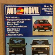 Coches: AUTOPISTA N° 64 (MAYO 1983). COMPARATIVA RALLYES: MINI COOPER S - LANCIA STRATOS - AUDI QUATTRO, ALF. Lote 158476717