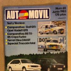 Coches: AUTOMÓVIL N° 65 (JUNIO 1983). COMPARATIVAS: R 5 TX VS R 5 COPA TURBO Y GOLF GTI VS KADETT GTE, FERRA. Lote 158476886