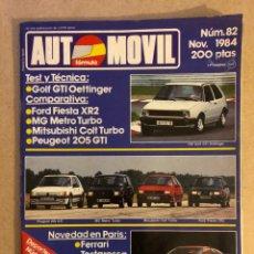 Coches: AUTOMÓVIL N° 82 (NOVIEMBRE 1984). GOLF GTI OETTINGER, FIESTA XR2, MG METRO TURBO, 205 GTI, COLT TURB. Lote 158480736