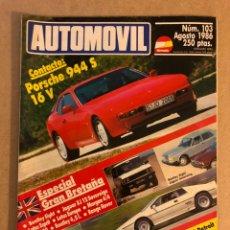 Coches: AUTOMÓVIL N° 103 (AGOSTO 1986). PORSCHE 944 S 16V, ESPECIAL GRAN BRETAÑA (BENTLEY, JAGUAR, LOTUS,... Lote 158483537
