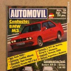 Coches: AUTOMÓVIL N° 104 (SEPTIEMBRE 1986). BMW M3, SAAB 9000 I, CADILLAC ALLANTÉ, PORSCHE 962 C GR.C,... Lote 158483594