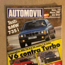 Coches: AUTOMÓVIL N° 110 (MARZO 1987). BMW 735I, ALFA 75 (2.5 VS 1.8 TURBO), BMW M3, PEUGEOT GT Y GTI,.... Lote 158483901