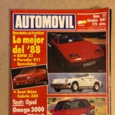 Coches: AUTOMÓVIL N° 117 (OCTUBRE 1987). BMW Z1, PORSCHE 911 SPEEDSTER, IBIZA CABRIO ASC, OMEGA 3000, R 11,. Lote 158484572