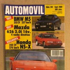 Coches: AUTOMÓVIL N° 140 (SEPTIEMBRE 1989). BMW M5, MAZDA 626 2.0I 16V, HONDA NS-X,.... Lote 158484969