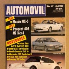 Coches: AUTOMÓVIL N° 147 (ABRIL 1990). MAZDA MX-5, PEUGEOT 405 MI 16 4X4, LOTUS ELAN, VW GOLG GTI G60, BMW 5. Lote 158485154