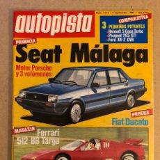 Coches: AUTOPISTA N° 1312 (1984). SEAT MÁLAGA (MOTOR PORSCHE), FERRARI 512 BB TARGA, FIAT DUCATO, G.P. ALCAÑ. Lote 158621976