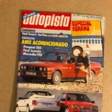 Coches: AUTOPISTA N° 1405 (1986). FORD ESCORT, PEUGEOT 205, FORD SCORPIO, MERCEDES 190, CANADA F1,.... Lote 158992261
