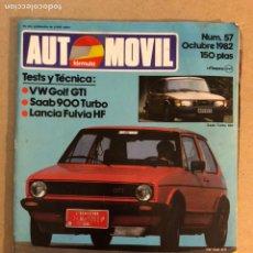 Coches: AUTOMÓVIL N° 57 (1982). VW GOLF GTI, SAAB 900 TURBO, LANCIA FLUVIA HF, RALLYES, F1. Lote 158993096