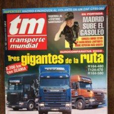 Coches: REVISTA TRANSPORTE MUNDIAL NÚMERO 183 DE 2002 CAMION SCANIA. Lote 159489214
