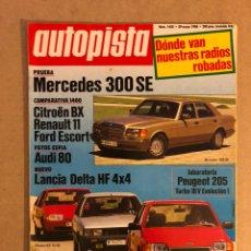 Coches: AUTOPISTA N° 1402 (1986). LANCIA DELTA HF 4X4, CITROËN BX, RENAULT 11, FORD ESCORT, PEUGEOT 205 TURB. Lote 159579346