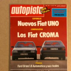 Coches: AUTOPISTA N° 1421 (1986). FIAT UNO Y CROMA, FORD ORION 1.6, RALLYES, JARAMA F3000,... Lote 159581908