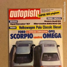 Coches: AUTOPISTA N° 1453 (1987). FORD SCORPIO VS OPEL OMEGA, VW POLI, OPEL SENATOR, AUDI 90, MERCEDES 230/3. Lote 159590664