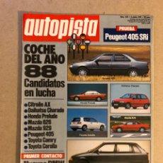 Coches: AUTOPISTA N° 1473 (1987). BMW 318I/324 TD, CITROËN AX, MAZDA 626/929, PEUGEOT 405, TOYOTA CAMRY/CORO. Lote 159592864