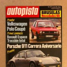 Carros: AUTOPISTA N° 1488 (1988). VW POLO COUPÉ, PORSCHE 911 CARRERA, RENAULT ESPACE,.... Lote 159593594