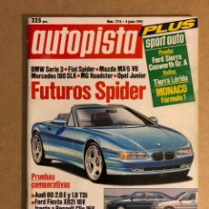 Coches: AUTOPISTA N° 1716 (1992). FORD SIERRA COSWORTH, BMW SERIE 3, FIAT SPIDER, FORD FIESTA XR2, MAZDA MX5. Lote 159703094