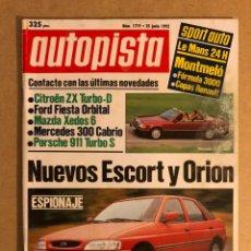 Coches: AUTOPISTA N° 1719 (1992). FORD ESCORT Y ORION, PORSCHE 911 TURBO S, MAZDA XEDOS, FORD FIESTA,... Lote 159703501