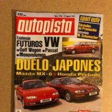 Coches: AUTOPISTA N° 1726 (1992). MAZDA MX-6 VS HONDA PRELUDE, BMW 730I V8, VW GOLF WAGON, PASSAT,.... Lote 159704490