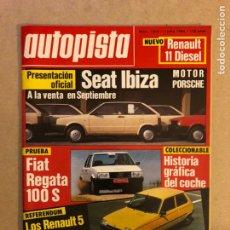 Coches: AUTOPISTA N° 1303 (1984). SEAT IBIZA MOTOR PORSCHE, FIAT REGATA 100 S, RENAULT 5, RENAULT 11,.... Lote 159915825