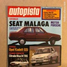 Coches: AUTOPISTA N° 1321 (1984). SEAT MÁLAGA MOTOR PORSCHE, OPEL KADETT GSI, CITROËN VISA TRS, FIAT PANDA,. Lote 159916409